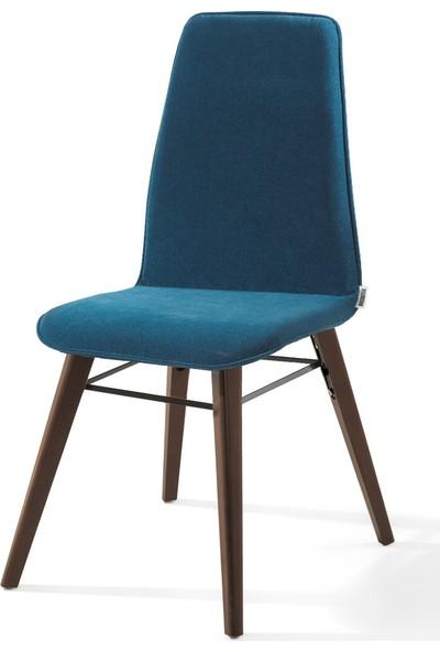 Evmazon Renna Sandalye 2 Adet Mavi Kumaş Ceviz Ahşap Ayak