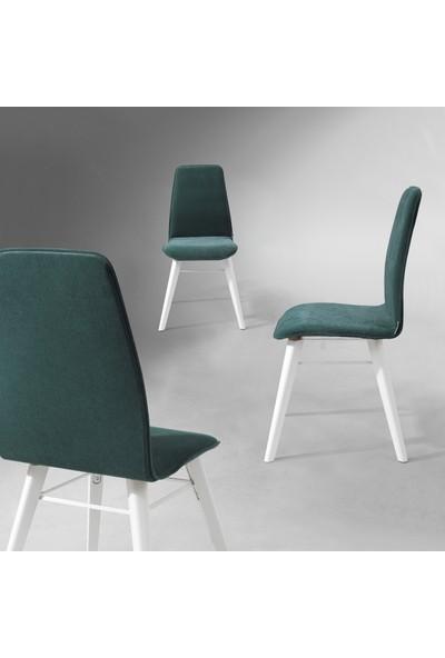 Evmazon Renna Sandalye 2 Adet Haki Kumaş Beyaz Ahşap Ayak