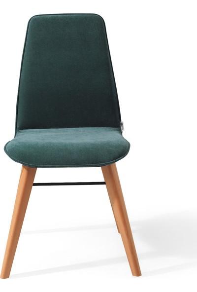 Evmazon Renna Sandalye 2 Adet Haki Kumaş Natürel Ahşap Ayak