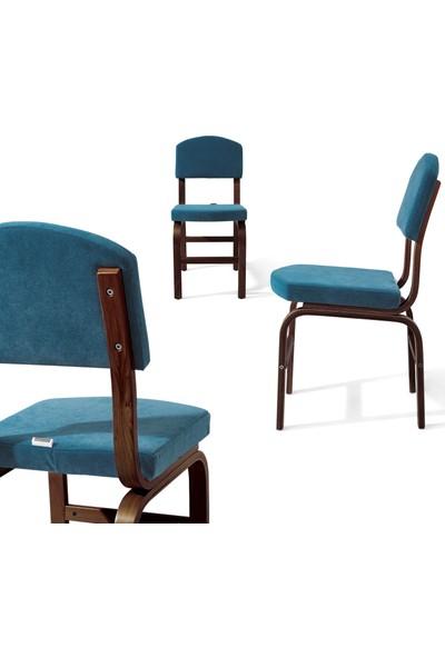 Evmazon Fıona Sandalye 2 Adet Mavi Kumaş Ceviz Ahşap Ayak