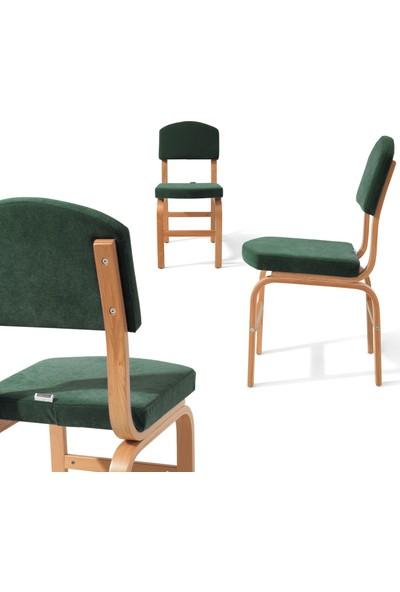 Evmazon Fıona Sandalye 2 Adet Haki Kumaş Natürel Ahşap Ayak