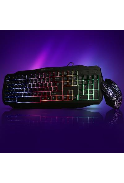 Dark Force Oyuncu USB Kablolu Işıklı Türkçe Q Klavye Mouse Set - Siyah (DK-AC-GKM1000)