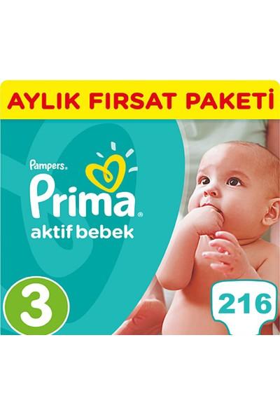 Prima Bebek Bezi Aktif Bebek 3 Beden Midi Aylık Fırsat Paketi Paket 216 Adet