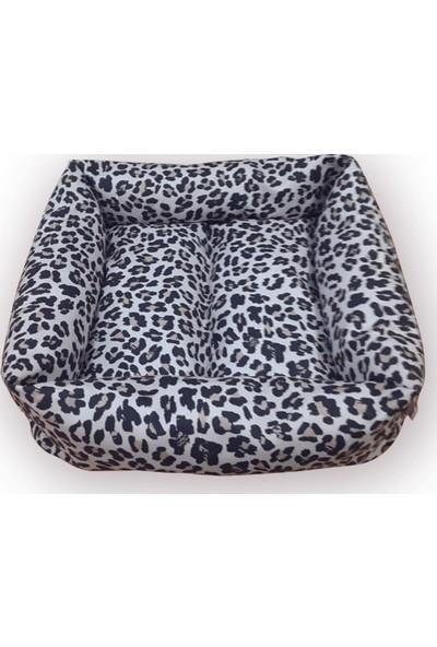 Mrs.Pillow Beyaz Leopar 1 Desen Kedi Ve Köpek Yatakları 45X45Cm