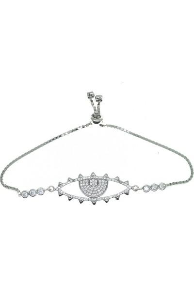 GriGümüş 0671 925Ayar Asansörlü Göz Modeli Gümüş Bileklik