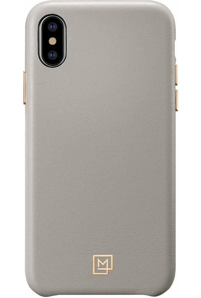 Spigen Apple iPhone XS / iPhone X Kılıf La Manon Câlin Oatmeal Beige (Deri Kılıf) - 063CS25322