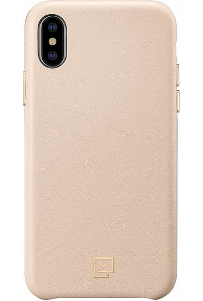 Spigen Apple iPhone XS / iPhone X Kılıf La Manon Câlin Pale Pink (Deri Kılıf) - 063CS25323