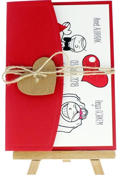 Crowera Açık Davetiye Zarfı 13 x 18 Kırmızı İpli Kraft Kalpli