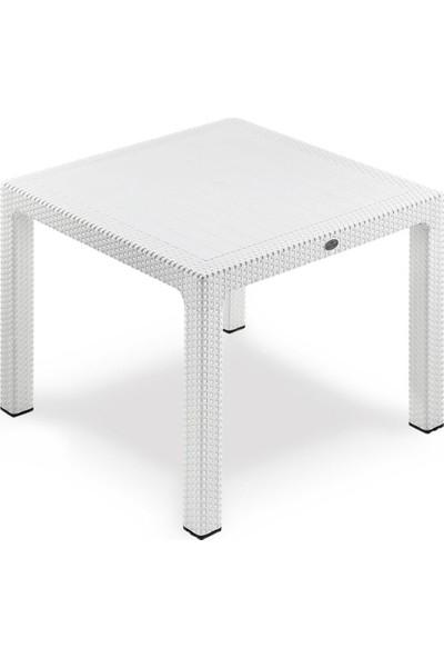 Novussi 90x90 Camlı Rattan Masa Beyaz
