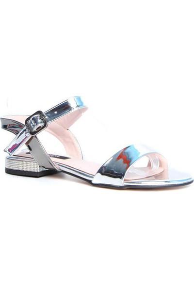 Kuum Kz1002-25 Gümüş Kadın Deri Sandalet