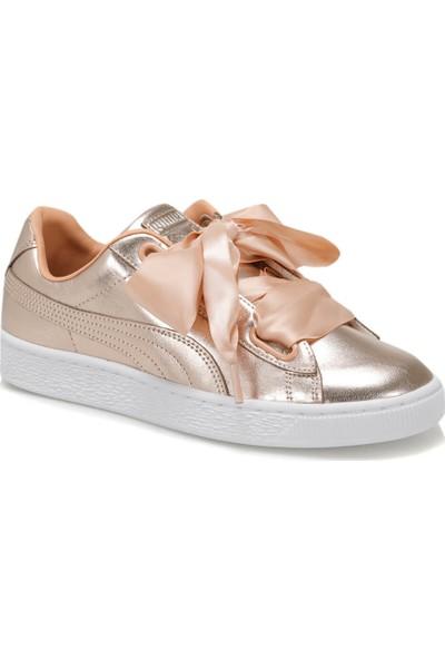 Puma Basket Heart Luxe Wn S Mercan Beyaz Kadın Deri Sneaker Ayakkabı