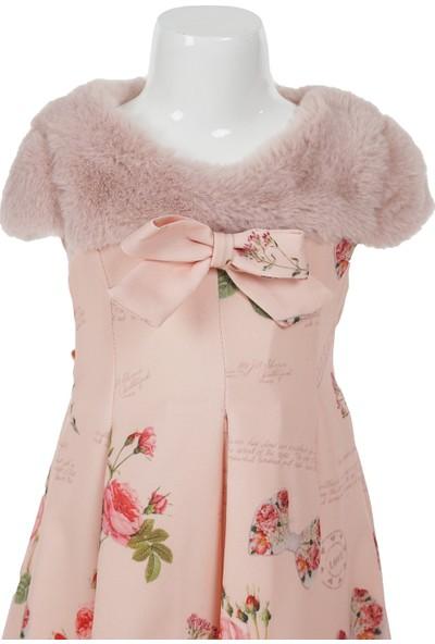 Missbonne Çiçekli Pembe Yakası Kürklü Şık Kız Elbise