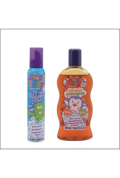 Crazy Soap Çocuklar İçin Banyo Köpüğü 225 ml Mavi Ve Renk Değiştiren Sabunu 300 ml Turuncudan Yeşile