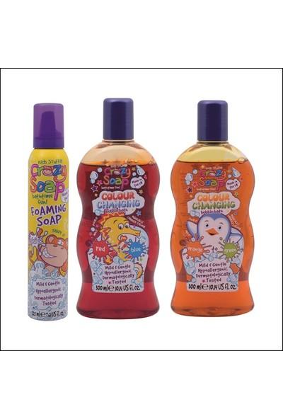 Crazy Soap Çocuklar İçin Banyo Köpüğü 225 ml Beyaz Ve Renk Değiştiren Sabun 300 ml 2'li Kırmızıdan Maviye Turuncudan Yeşile