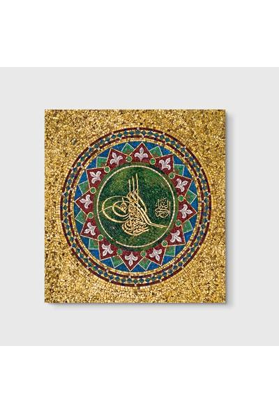 Germenicia Art Altın Mozaik İçinde Tuğra Dini-İslami Tablo