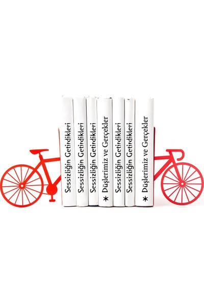 Simge Yapı Dekorasyon Kırmızı Bisiklet Figürlü Şık ve Dekoratif Metal Kitap Tutucu Kitap Desteği