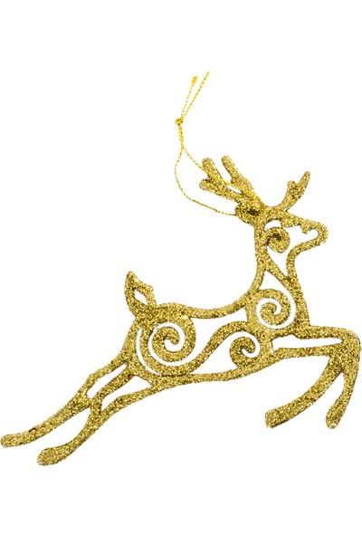 PartiBulutu Yılbaşı Asma Süs Geyik Altın Simli 13*10 cm
