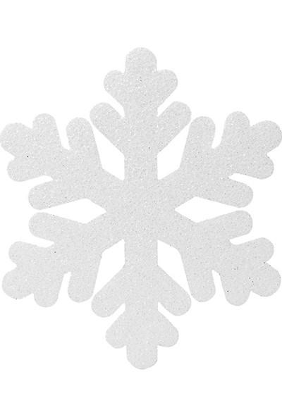 PartiBulutu Yılbaşı Kar Tanesi Strafor Dekor Süs 25x25 cm Beyaz