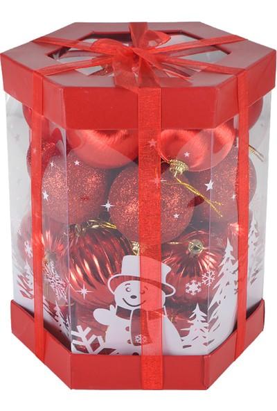 PartiBulutu Yılbaşı Kırmızı Top Ağaç Süsü Karma Set 6cm 28'li