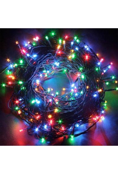 PartiBulutu Yılbaşı Yeşil Kablo 5m 100 Ampul Led Işık Renkli