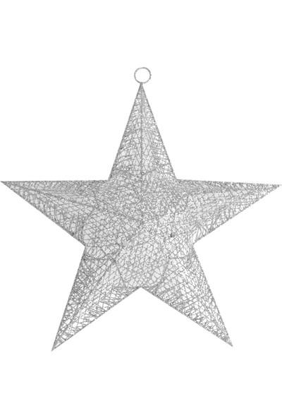 PartiBulutu Yılbaşı Yıldız Duvar Süsü Gümüş Simli 40 cm 2'li