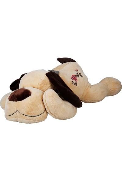 Puffy Friends Love Yazılı Papyonlu 100 cm Peluş Oyuncak Yatan Büyük Köpek - Kahve