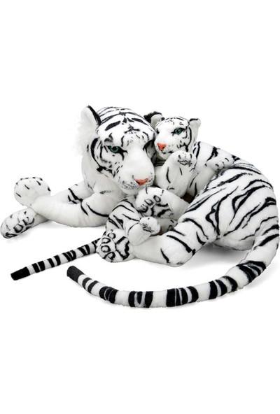 Puffy Friends Anne Beyaz Kaplan Ve Yavrusu 90 cm Yan Yatan Peluş Oyuncak
