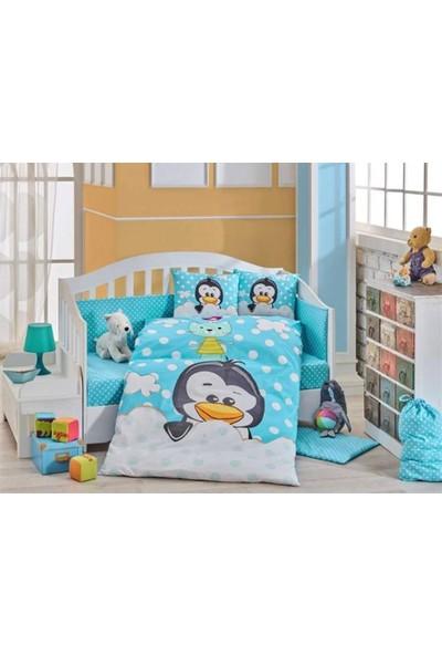 Hobby Bebek Nevresim Takımı Penguin Mavi