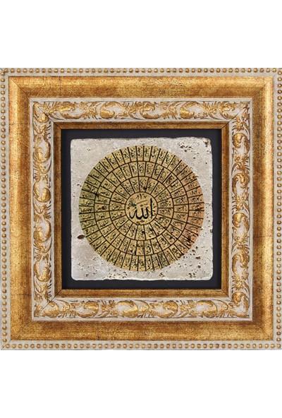 ESMAÜL HÜSNA ALLAH'IN 99 İSMİ TEMALI DOĞAL TAŞ TABLO - DT056