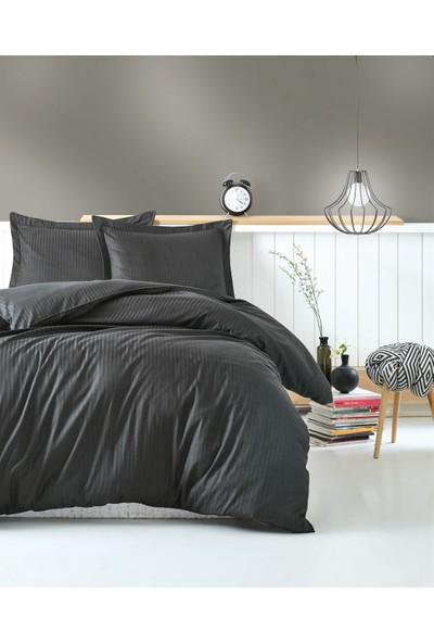Cotton Box Çift Kişilik Saten Nevresim Takımı Elegante Stripe Antrasit