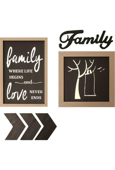 Özel Tasarım Family Temalı Ahşap Pano Seti - H021