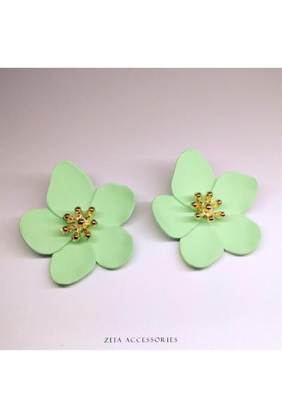 Su Yeşili Orta Boy Çiçek Küpe - TK318