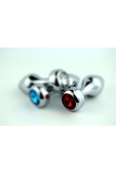 Lovetoy JW Gümüş Metal KırmızıTaşlı Lüks Anal Plug Küçük Boy Tıkaç 7.5 cm