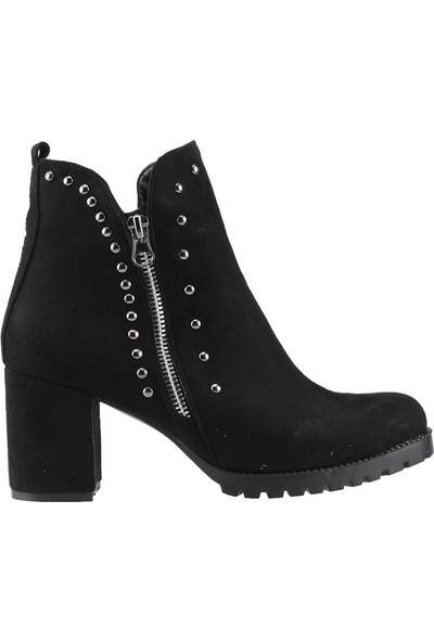 Armoni 24 Siyah Günlük 7 Cm Topuk Kadın Nubuk Bot Ayakkabı