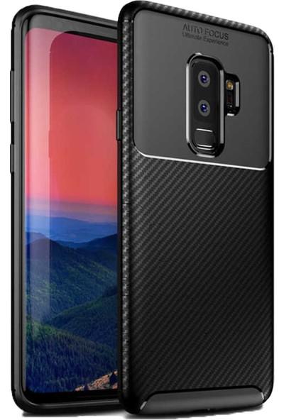 Case 4U Samsung Galaxy S9 Plus Kılıf Karbon Desenli Sert Silikon Arka Kapak - Negro - Siyah