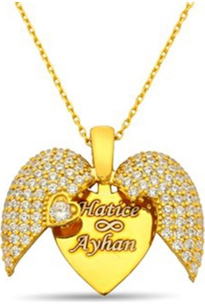 Nali Şerif Gümüş Kişiye Özel İsimli Açılan Kalp Altın Kaplama 925 Ayar Gümüş Bayan Kolyesi