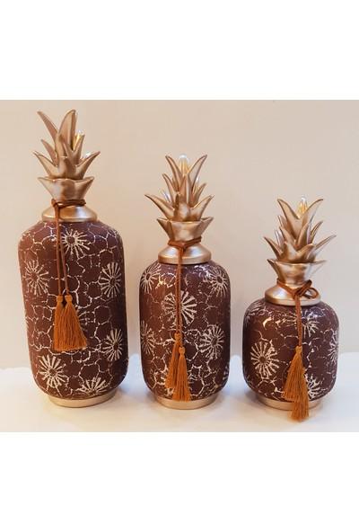 Oyks Dekoratif Ananas Obje 3lü Seramik Vişne Çürüğü