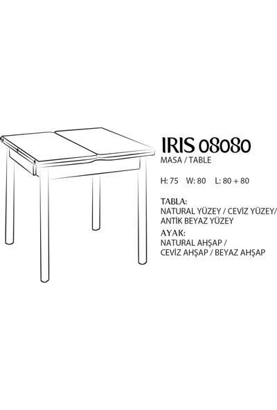 Evmazon IRIS 08080 Açılır Masa Antik Beyaz Tabla Beyaz Ahşap Ayak