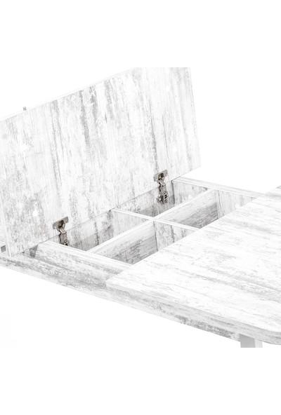 Evmazon MIRELA 80140 Açılır Masa Antik Beyaz Tabla Beyaz Ahşap Ayak