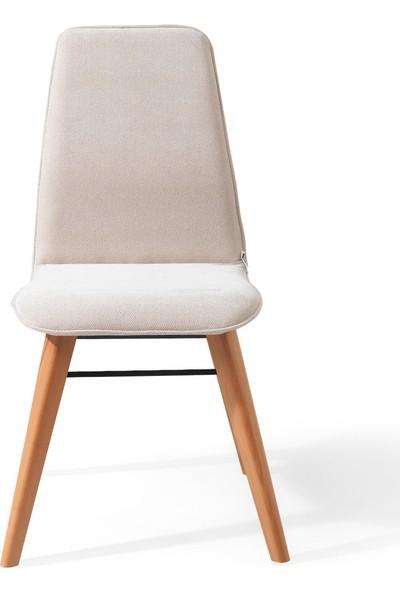 Evmazon RENNA Sandalye 2 Adet Sarı Kumaş Natürel Ahşap Ayak