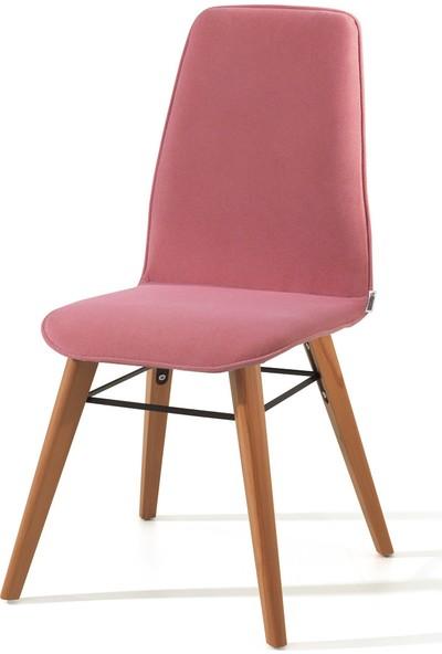 Evmazon RENNA Sandalye 2 Adet Pembe Kumaş Natürel Ahşap Ayak