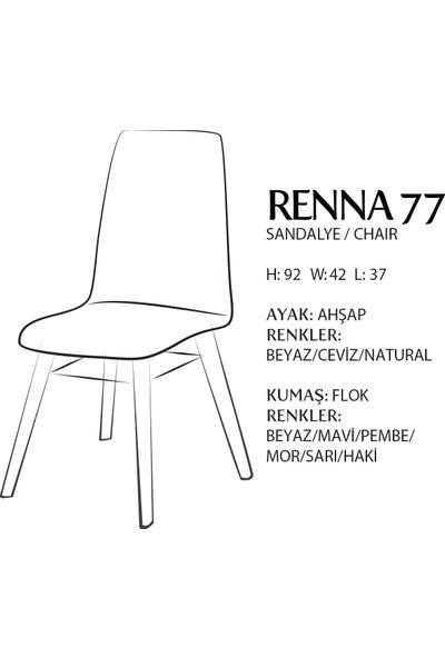 Evmazon RENNA Sandalye 2 Adet Mavi Kumaş Beyaz Ahşap Ayak