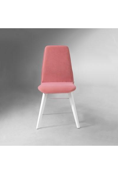 Evmazon RENNA Sandalye 2 Adet Pembe Kumaş Beyaz Ahşap Ayak