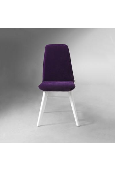 Evmazon RENNA Sandalye 2 Adet Mor Kumaş Beyaz Ahşap Ayak