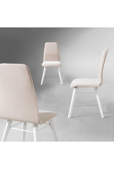 Evmazon RENNA Sandalye 2 Adet Beyaz Kumaş Beyaz Ahşap Ayak