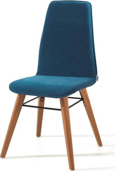 Evmazon RENNA Sandalye 2 Adet Mavi Kumaş Natürel Ahşap Ayak