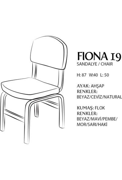 Evmazon FIONA Sandalye 2 Adet Beyaz Kumaş Natürel Ahşap Ayak