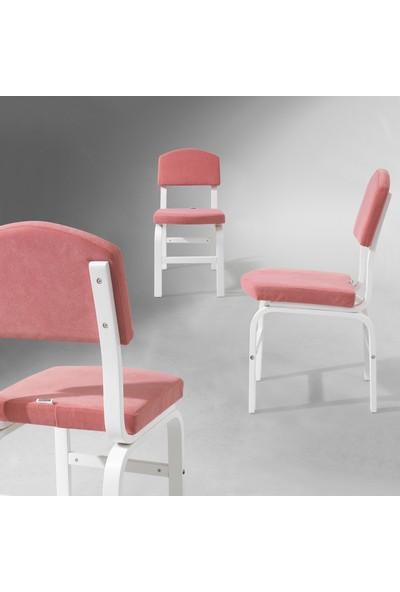 Evmazon FIONA Sandalye 2 Adet Pembe Kumaş Beyaz Ahşap Ayak