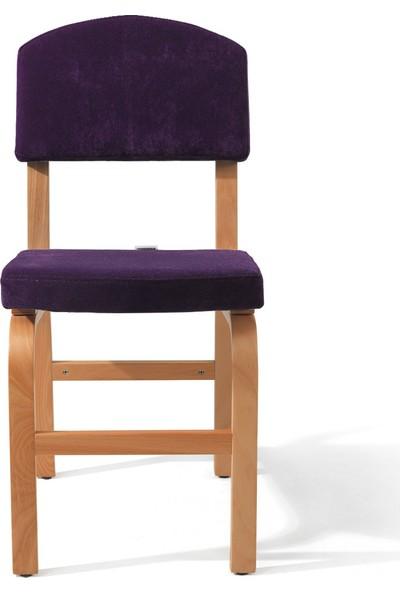 Evmazon FIONA Sandalye 2 Adet Mor Kumaş Natürel Ahşap Ayak