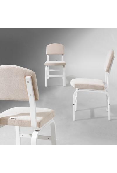 Evmazon FIONA Sandalye 2 Adet Beyaz Kumaş Beyaz Ahşap Ayak